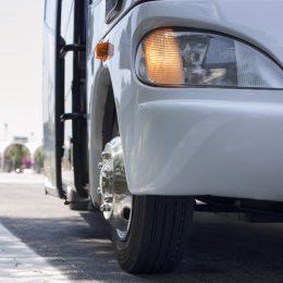 Closeup of a bus