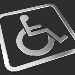 Universal wheelchair access symbol.